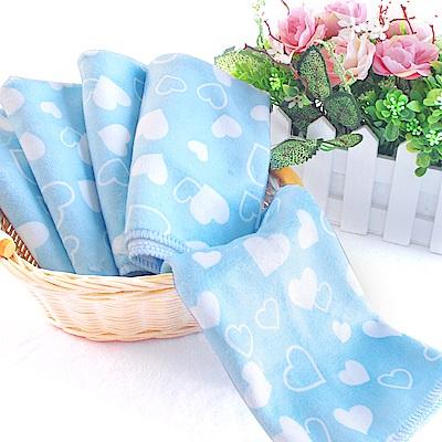 加厚棉柔印花小方巾5條(藍)30X35cm