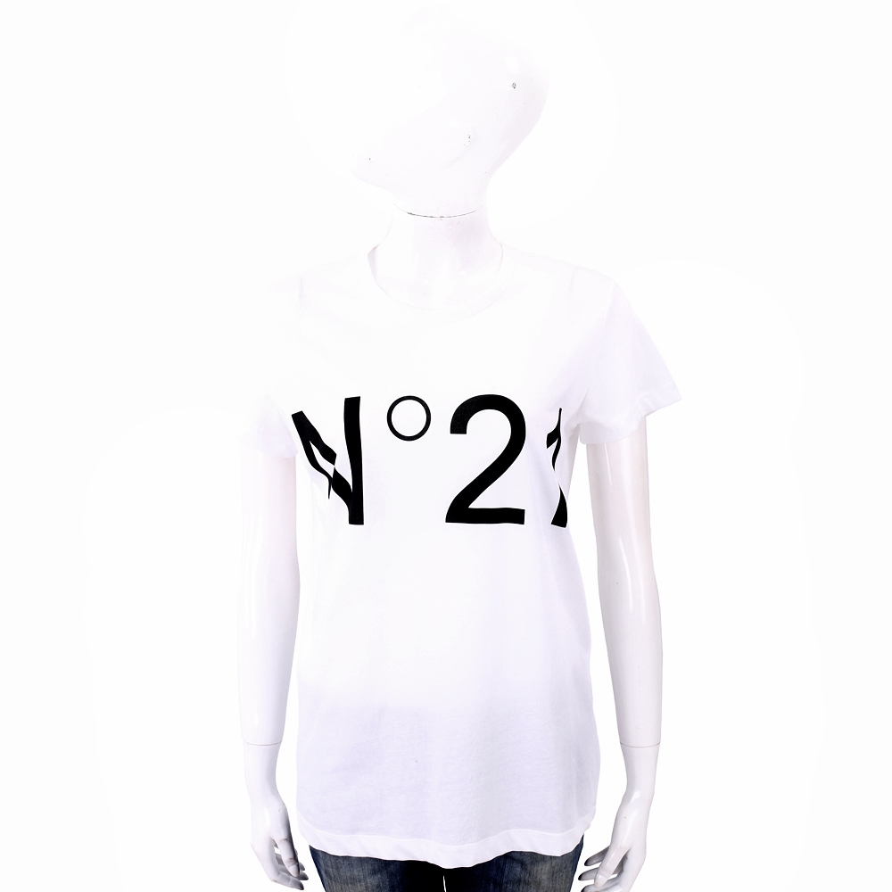 N° 21 字母設計白色棉質T恤