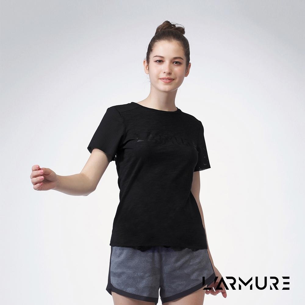 L'ARMURE 女裝 LOGO網洞T恤 (黑色)