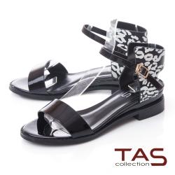 TAS一字繫踝繞帶花紋涼鞋–質感黑