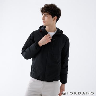 GIORDANO 男裝輕羽絨連帽外套 - 99 標誌黑