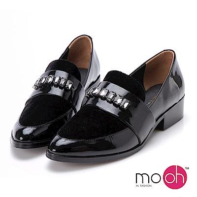 mo.oh-水鑽尖頭低跟漆皮牛津鞋-黑色
