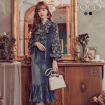 東京著衣-yoco 時髦韓妞吊帶魚尾絨布洋裝-S.M.L(共二色)