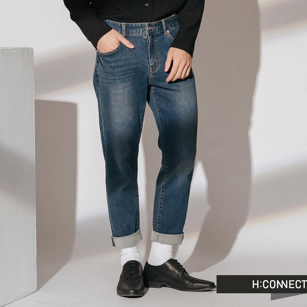 H:CONNECT 韓國品牌 男裝 -簡約刷色牛仔褲-藍(快)