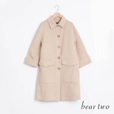 bear two- 羊毛裝飾金屬釦大衣 - 杏