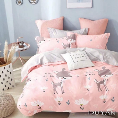 DUYAN竹漾 100%精梳純棉 雙人四件式舖棉兩用被床包組-小鹿斑比 台灣製