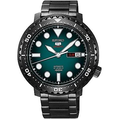 SEIKO 精工5號系列 復刻運動機械錶(SRPC65J1)-綠x鍍黑x/44mm