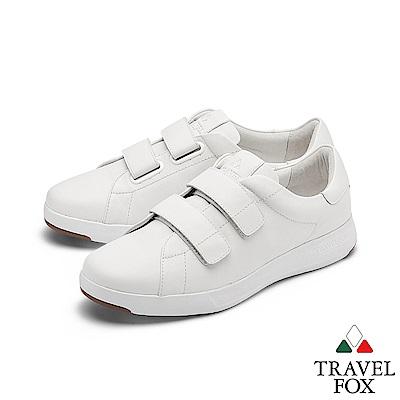TRAVEL FOX(女) 輕雲系列 超軟牛皮雙側扣輕量舒適運動鞋 - 無瑕白