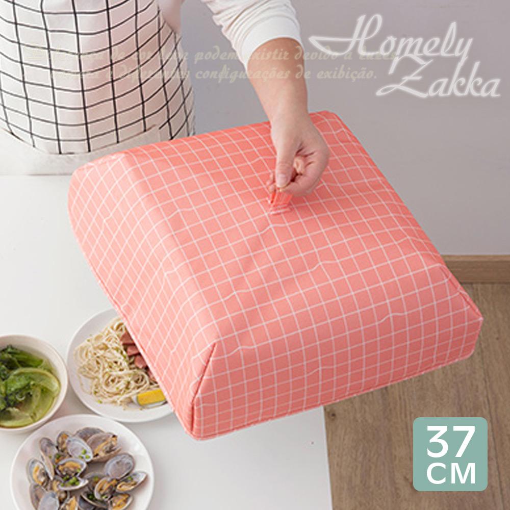 Homely Zakka清新簡約室內/戶外兩用折疊保溫防塵食物罩(L款37cm)-格紋粉橘