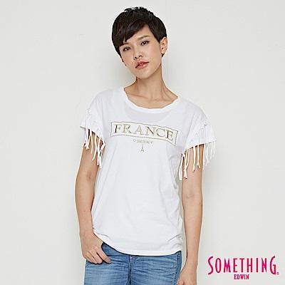 SOMETHING 都會流蘇個性T恤-女-白色
