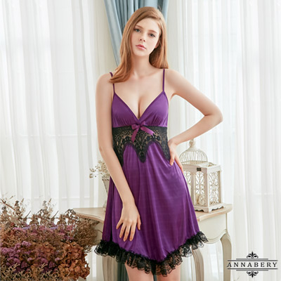 大尺碼浪漫深紫色柔緞黑蕾絲性感睡衣 紫 L-2L Annabery