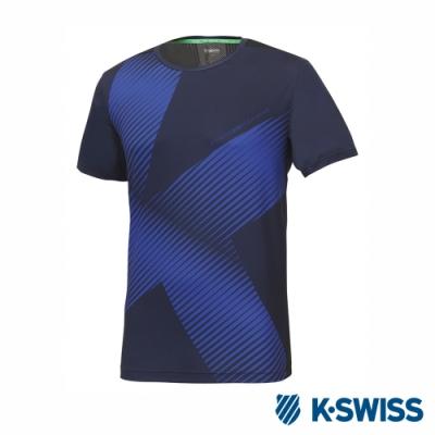 K-SWISS T-Shirt 韓版短袖T恤-男-藍
