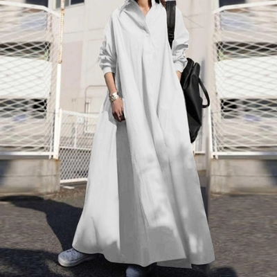 【KISSDIAMOND】民族風超寬鬆長版百搭棉麻洋裝(KDD-9833)
