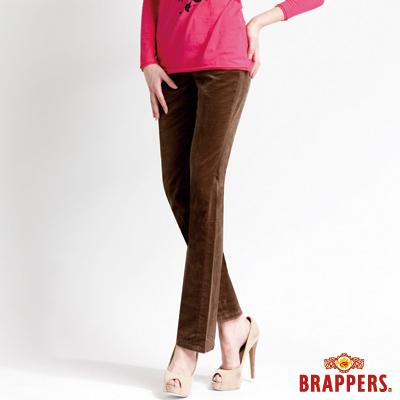 BRAPPERS 美尻腳Royal系列-女用中腰彈性平面絨鑲鑽小喇叭褲-綠