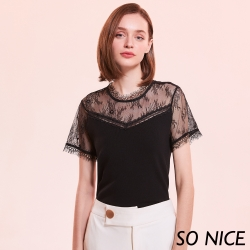 SO NICE法式鏤空蕾絲V領針織上衣