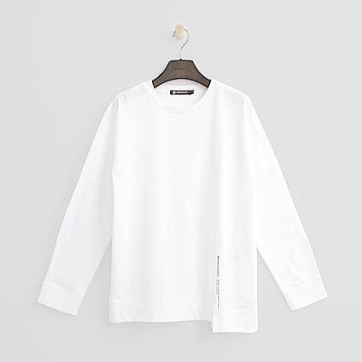 Hang Ten - 女裝 - 棉質素面不對稱T恤-白色