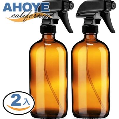 Ahoye 茶色玻璃噴霧瓶 500mL 2入組 噴瓶 分裝瓶