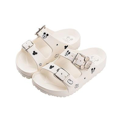 迪士尼童鞋 米奇 造型帶扣防水拖鞋-白