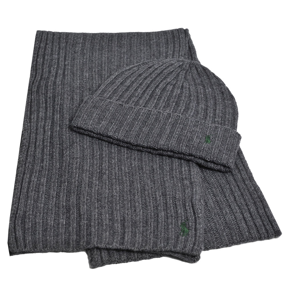 RALPH LAUREN POLO 小馬LOGO刺繡羊毛圍巾毛帽組(灰色)