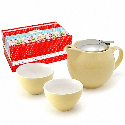 ZERO JAPAN 典藏陶瓷一壺兩杯超值禮盒組(香蕉黃)