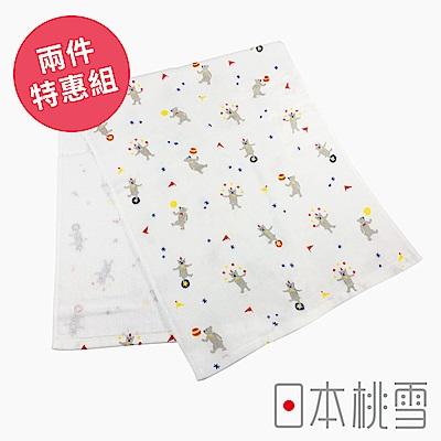 日本桃雪 可愛紗布毛巾超值兩件組(小小馬戲團-熊熊)