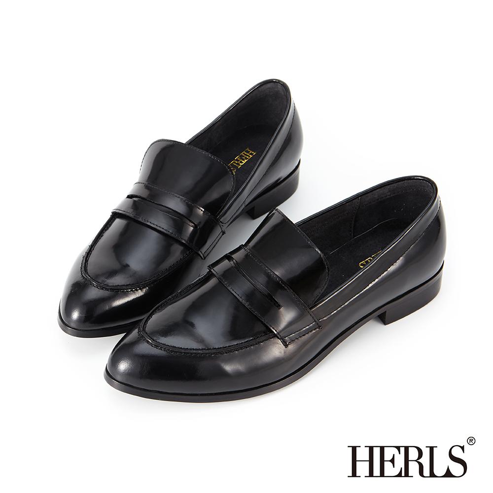 HERLS 紳士步調 全真皮素面尖頭樂福鞋-黑色 @ Y!購物