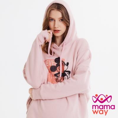 【mamaway 媽媽餵】迪士尼米奇色塊連帽孕哺罩衫(粉色)
