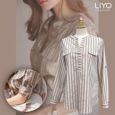 襯衫-LIYO理優-蔥紗交織寬鬆條紋襯衫-E935007
