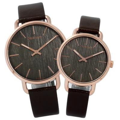 CK EVEN 沉靜雅緻岩紋皮革對錶-灰x玫瑰金框x深褐/42mm+36mm