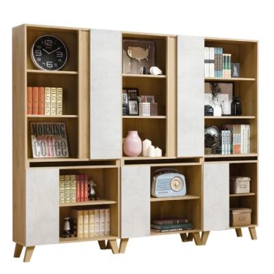 D&T德泰傢俱 JOYE清水模風格7.3尺組合書櫃-220.5x32x181cm