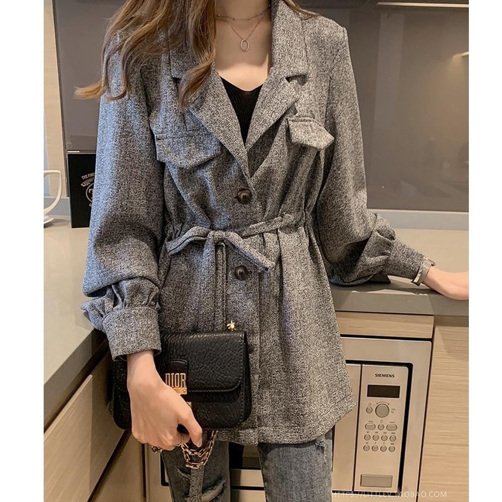 【白鵝buyer】率性 混色縮腰綁帶外套(灰黑)