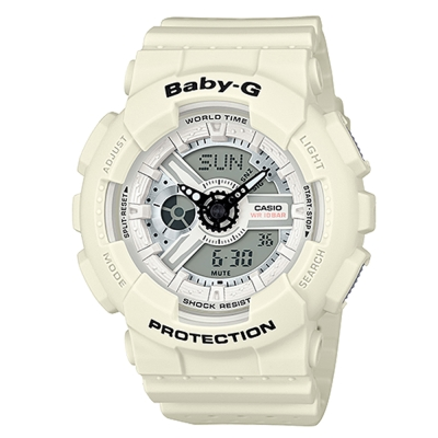 BABY-G 時尚百搭系列透氣洞洞設計休閒錶(BA-110PP-7A)米白43.4mm