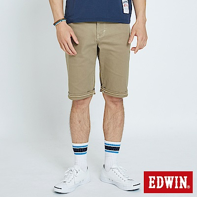 EDWIN 大尺碼503休閒基本五袋短色褲-男-褐色