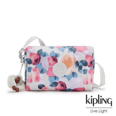 Kipling 繽紛夢幻花繪小巧簡約拉鍊方包-COLLEEN