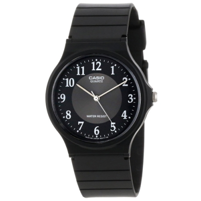 CASIO 超輕薄感數字錶(MQ-24-1B3)-黑x銀圈x白數字