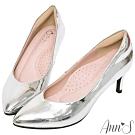 Ann'S魔術軟漆V口顯瘦低跟尖頭包鞋-銀(版型偏小)