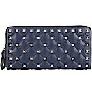 VALENTINO Rockstud Spike 絎縫羊皮菱格鉚釘拉鍊長夾(深藍色)