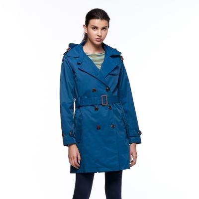 【HAKERS 哈克士】女款 防水風衣外套(海灣藍)