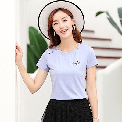 初色  氣質舒適圓領T恤-紫色-(M-2XL可選)