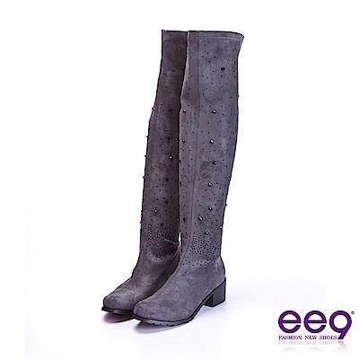 ee9 質感簡約鑲嵌水鑽星光閃耀粗跟膝上靴 灰色