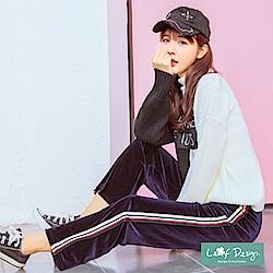 LEAF DESIGN韓版金絲絨直筒時尚運動風合身長褲-深藍