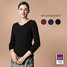 ILEY伊蕾 保暖絨內裡蕾絲造型彈性內搭衣(黑/藍/紅)