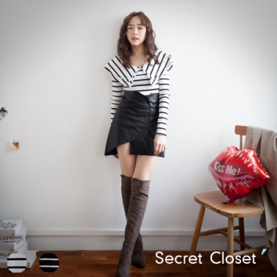 Secret Closet-V領領條紋不規則裙套裝組
