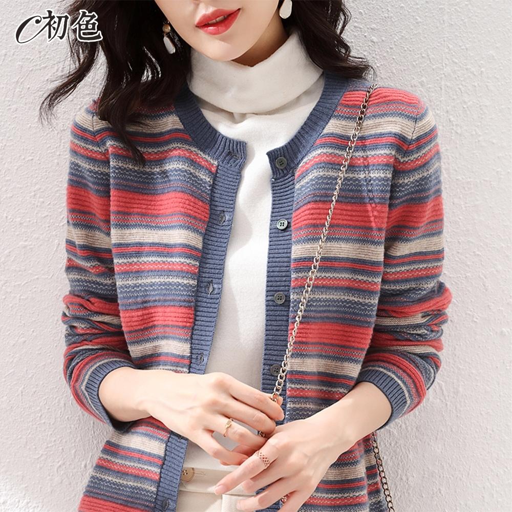 初色  多色橫紋針織外套-共5色-(F可選)