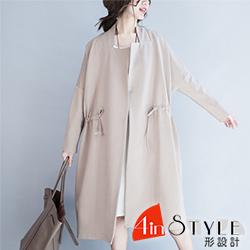 純色簡約翻領抽繩風衣外套 (共二色)-4inSTYLE形設計