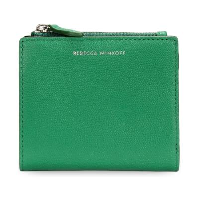 Rebecca Minkoff 質感皮革燙銀LOGO證件零錢短夾-翡翠綠