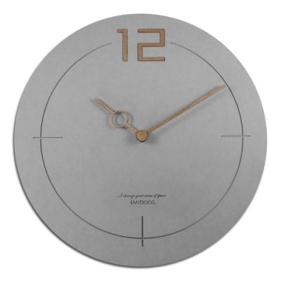 簡約時尚 居家 木質 輕薄簡約 清水模 靜音 圓掛鐘-灰色 / 12吋