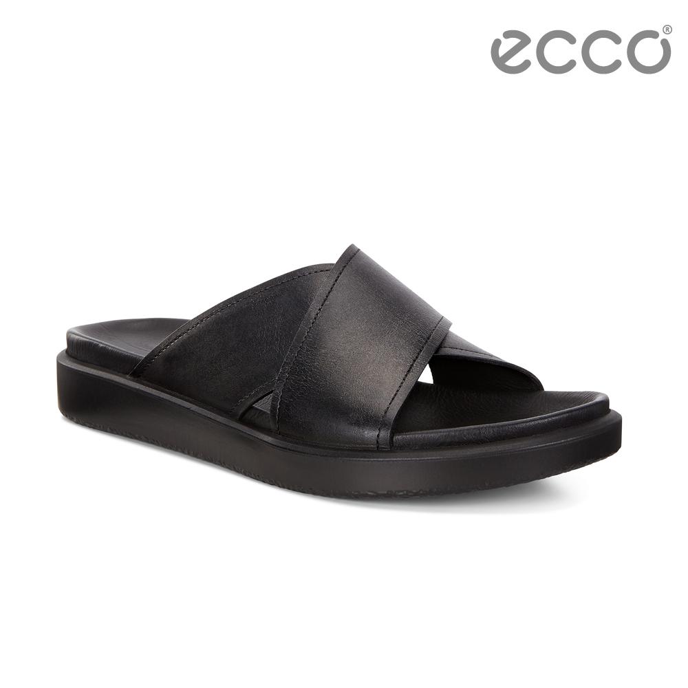 ECCO FLOWT LX M 簡約質感交叉寬帶涼拖鞋 男-黑