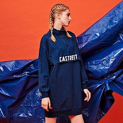 CACO-立領拉鍊刷色洋裝-女【RST009】