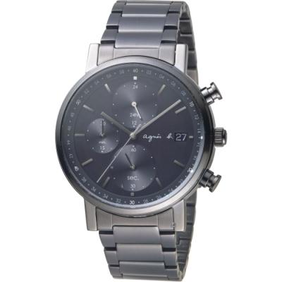 agnes b. give Love簡約墨黑太陽能計時腕錶 VR43-KSG0SD-黑/42mm